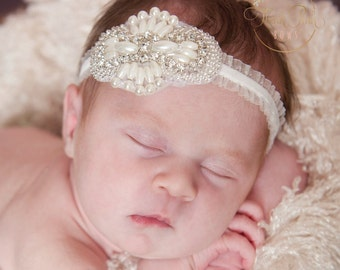baby headband, Newborn Headband, Christening Headband, Baptism headband, Gatsby crystal pearls Headband, Baby Girl headband, Baby Hair Bows