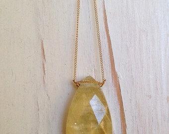 Lemon Quartz Necklace Lemon Quartz Jewelry Gemstone Necklace Gemstone Jewelry