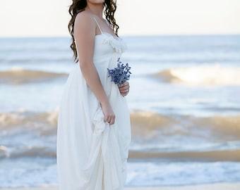 Wedding Dress Romantic bohemian wedding gown lace beach maxi Lace Custom