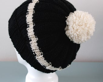 Black Beanie Hat - Cream Stripe Knitted Slouch Merino Wool Pom Pom Hat Unisex Winter Accessory Gift for Him by Emma Dickie Design