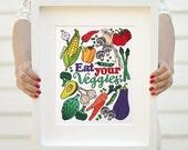 Art print - Eat you Veggies - Kitchen print