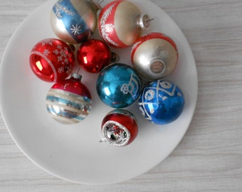 vintage sparkly glitter striped red blue glass christmas ball ornaments // set of 9