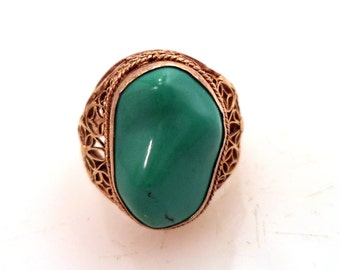 Chinese Export SILVER Gold Wash Filigree Turquoise Ring