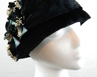 Vintage Velvet Cloche Hat With Applied Flowers