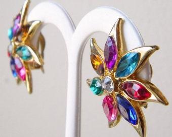 Vintage Multi Colored Rhinestone Clip Back Earrings