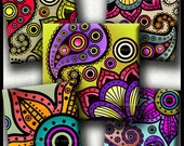 INSTANT DOWNLOAD Colorful Paisley Floral (755) 4x6 Digital Collage Sheet 1 inch square images glass tiles resin pendants cabochon images