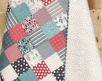 Nautical Baby Quilt, Boathouse Moda Sweetwater, Anchors, Crib Nursery Bedding, Teal Blue Navy Red Grey, Patchwork Blanket