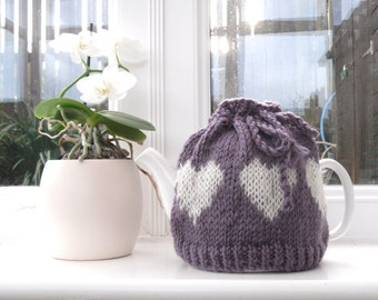 Handknit hearts Tea Pot cosy , chunky tea cozy , lilac kitchen accessory , wool tea pot cover  , mothers day gift for her , kitchen gift