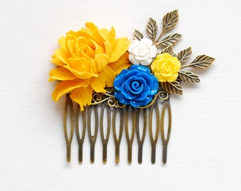 Yellow and Blue Rose Flower Hair Comb Leaf Hair Comb Yellow Wedding Blue Wedding Bridal Hair Comb Yellow Wedding Hair Comb