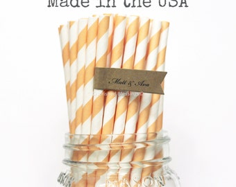 25 Peach Paper Straws, Peach Straws, Cake Pop Sticks, Vintage Wedding, Rustic Baby Shower, Birthday, Princess Party, Made in USA, Bridal