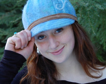 Wool Felt Hat - Felted Hats - Felted Newsboy Hats- Felted Clothing- Womens Blue Hat- Womens Winter Hats- Womens Newsboy Hats- Wool Hat