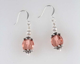 Faceted Salmon Pink Glass Simple Silver Dangle Earrings