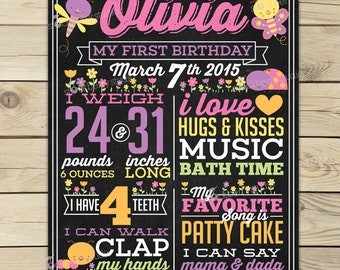 Butterfly Chalkboard Poster Printable - Girl 1st Birthday Photo Prop - Ladybug & Flowers First Birthday Party - Pink Purple Yellow Orange