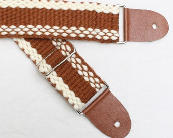 Adjustable Guitar Strap - Brown and pale yellow - Handwoven