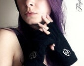 Black Steampunk Cut Off Gloves Silver Gears One Size Fits All