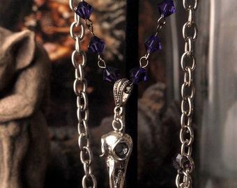 """Clearance item 40% Off Hummingbird Skull Necklace Purple 14"""" to 16"""" Adjustable"""