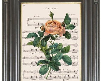 Pink rose flower print on music or dictionary page COUPON SALE Dictionary art print Wall decor Sheet music print Digital art print  No. 711