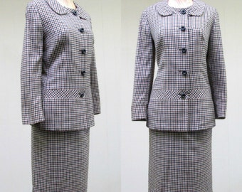 Vintage 1950s Suit / 50s Wool Houndstooth Tailored Skirt Suit / Small - Medium