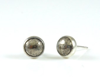 Pyrite Stud Earrings - Gemstone Sterling Silver Pyrite Earrings - Gold Stud Earrings - Silver Stud Earrings Jewelry by Gioielli Designs