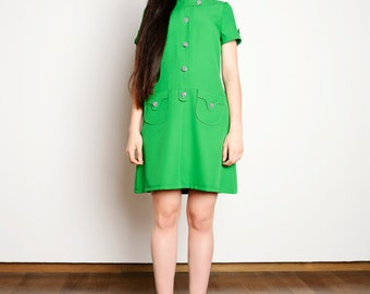 Green pocket mod dress A line button dress 60s custom made