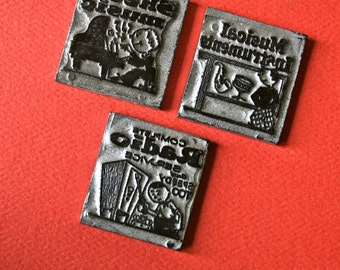 Music Themed Vintage Letterpress Printing Plates for Printing and Decor - Set 9
