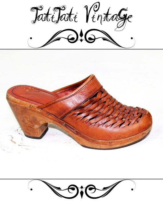 SALE from 85.00 Vintage 70's Bohemian Leather Clogs Brown Woven QUALI-CRAFT Platform Shoes // Vintage Clothing by TatiTati Vintage on Etsy