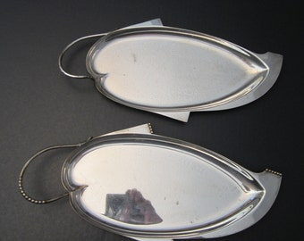 Pair of 1950s Silverplate Celery Trays - Scandinavian Modern from Three Crowns Silversmiths - Royal Hickman Design