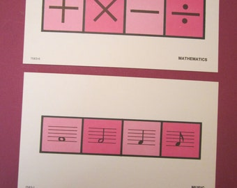 1973 Math and Music - Vintage Milton Bradley Sign and Symbol Flash Cards
