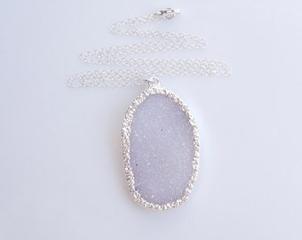 White Druzy Necklace in Silver - OOAK Jewelry