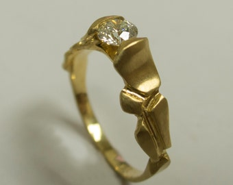Parched Earth No.5 - 14K Gold and Diamond Ring , Engagement Ring , Engagement Band