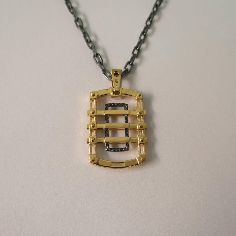 Dogtag 2 - 14K Gold Black Diamonds Pendant, 14K Gold Necklace, Mens pendant, solid gold pendant, Gold Dogtag, Dog tag, steampunk pendant steampunk buy now online