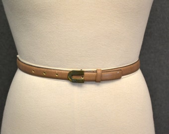 1980s Etienne Aigner Taupe Leather Belt