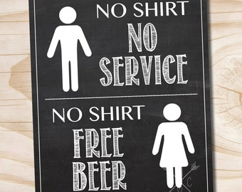 craft beer poster no shirt no service no shirt free beer printed 11x14 poster