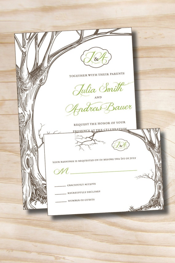 Vintage Tree Initials Rustic Wedding Invitation And Response Card