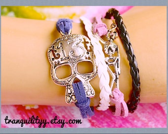 Skull Bracelet ,Day of The Dead ,Firday The 13th Skeleton Infinity Faux Suede Adjustable Bracelet , Handmade By: Tranquilityy