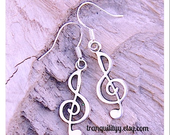 Music Note Earrings, Music to my ears Trendy Earrings, Hipster Made W / Hypoallergenic 925 Sterling Sliver Post By: Tranquilityy