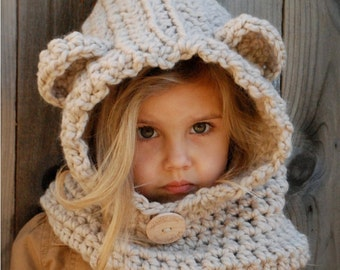 CROCHET PATTERN - Baylie Bear Cowl (3/6 months, 6/12 months, 12/18 month,Toddler, Child, Adult sizes)