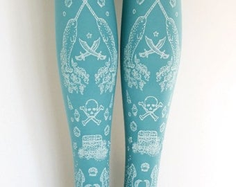 S M Narwhal Pirate Tattoo Tights Small Medium White on Duck Egg Blue Pastel Turquoise Cyan Sailor Lolita Fairy Kei
