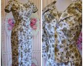 1950s Vintage Suit / Slim Wiggle Dress / Cape Collar Jacket / Floral Glazed Cotton / M Medium / 27 28 Waist / NOS Deadstock