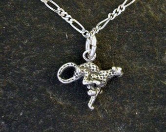 Sterling Silver Running Cheetah Pendant on a Sterling Silver Chain