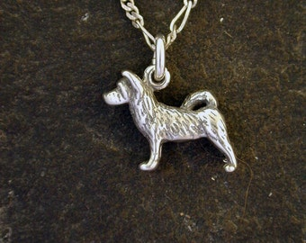 Sterling Silver Akita Dog Pendant on a Sterling Silver Chain