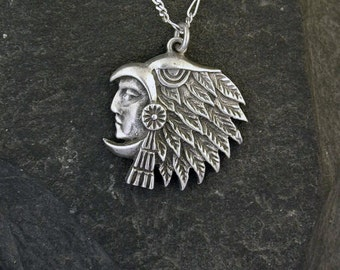 Sterling Silver  Eagle Spirit Indian Pendant on a Sterling Silver Chain.