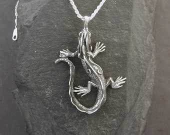 Sterling Silver Iguana Pendant on a Sterling Silver Chain