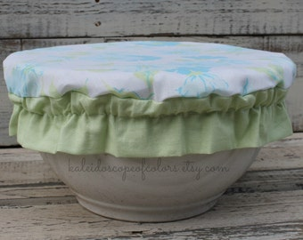"Vintage Floral Fabric Reusable Bowl Cover 14"" inch Bowl"