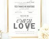 "Light Gray & Blush, Van Morrison, Audra Mae ""Crazy Love"" - Valentine's, Wedding Gift, Cotton, Paper Anniversary Gift, Song Lyrics, Art Print"