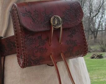 Customizable Small Cherry Blossom Design Leather Belt Bag / Pouch Medieval, Bushcraft, LARP, SCA, Costume, Ren Faire