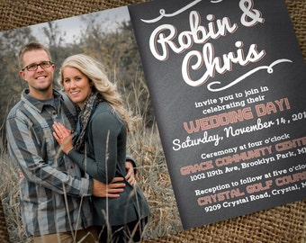DIY Wedding Invitation - Printable Photo Wedding Invitation - CHALKBOARD - Studio Veil