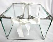 """Wedding Card Box, Wedding Card Holder, Glass Wedding Card Box, Bar Mitzvah, Card Box, Glass Box, Wedding Shower, Reception Box, 9 x 9 x 6 """""""
