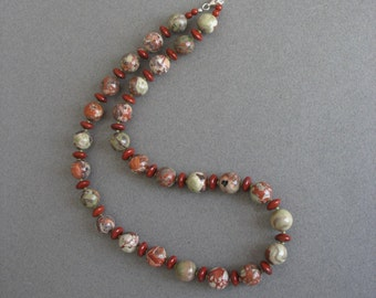 Chalcedony and Red Jasper Necklace