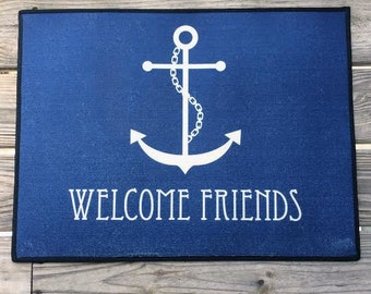 Personalized Door Mat,Personalized Anchor Door Rug, Monogrammed Doormat, Custom Doormat, Nautical Welcome Mat, Custom Doormat